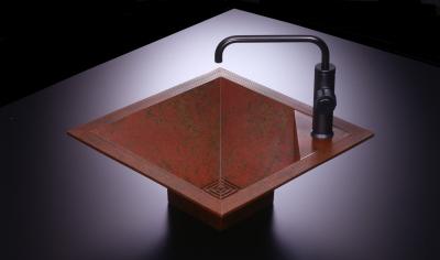 角型洗面器 朱銅