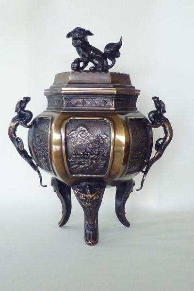 特大六角山水香炉